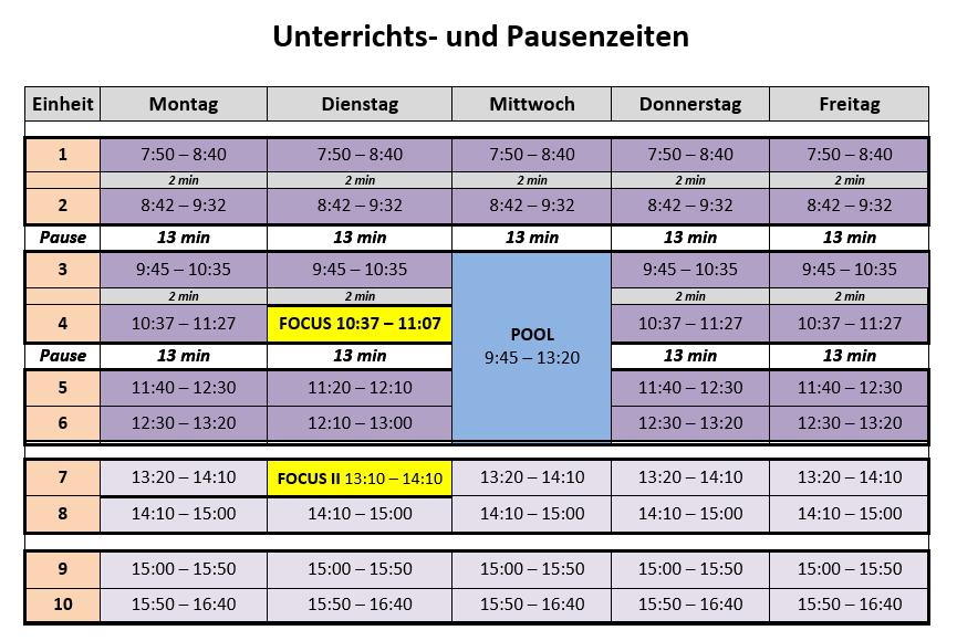 Stundenplan des Europagymnasiums Baumgartenberg mit Focus- und Pool-Zeiten.
