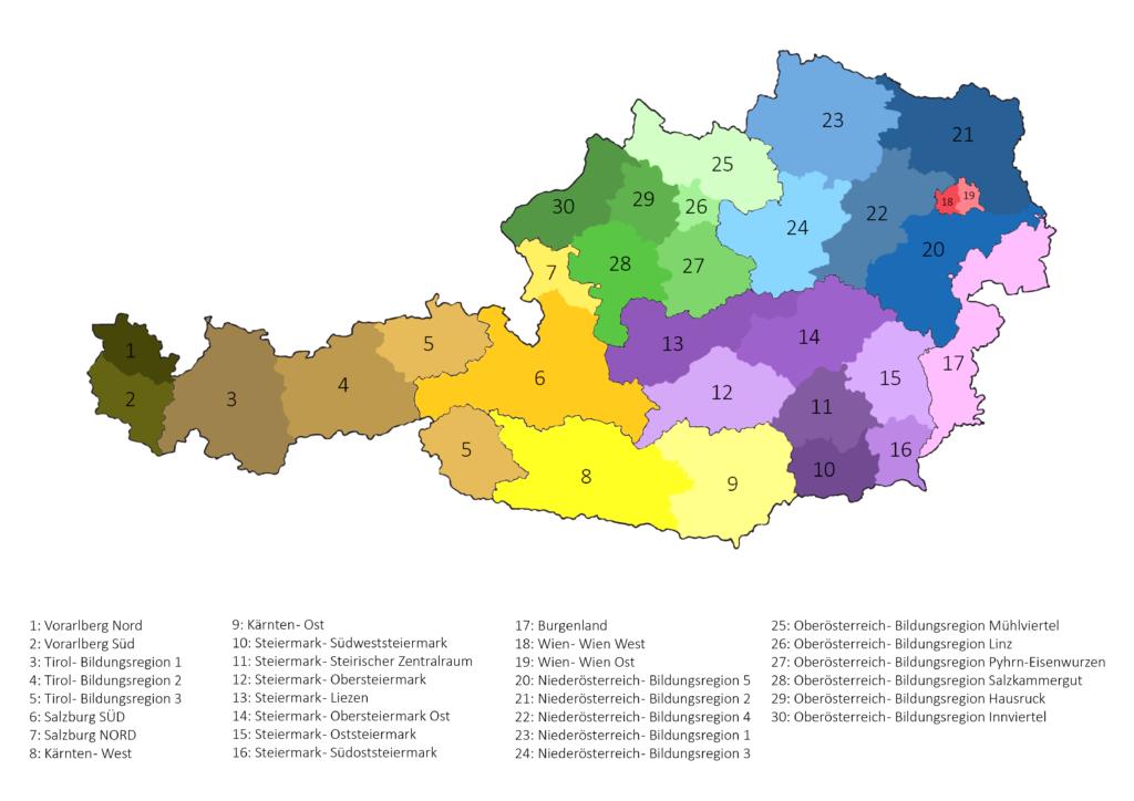 Übersicht aller Bildungsregionen Österreichs